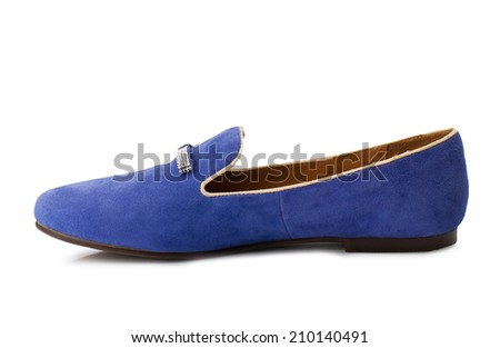 Cerulean blue suede women shoe isolated on white background. - stock photo