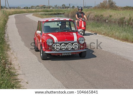 """CERVIA (FC) ITALY - JUNE 6: vintage tuned small car Mini at rally of old car """"10�° Raduno delle Centurie Romane"""" on june 2, 2012 in Cervia (RA) Italy - stock photo"""