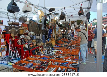 CERVIA, ITALY-SEPTEMBER 21, 2014: tools stand at the annual International outdoor market. This market is very popular and attract thousands of tourists. - stock photo