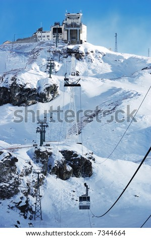 Cervinia mountain resort cable car (Italy); winter season; vertical orientation