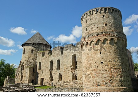 Cesis Castle is a Livonian castle situated in C?sis, Latvia. - stock photo