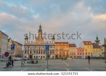 Ceske Budejovice, Otc 21 2014: Historic centre of Ceske Budejovice, Budweis, Budvar, South Bohemia, Czech Republic