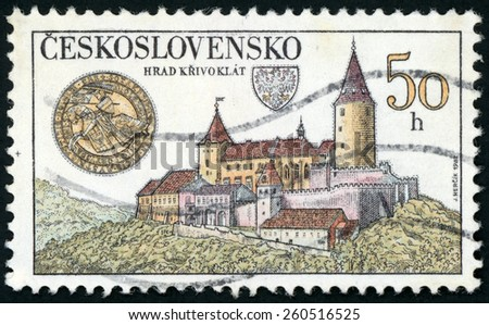 CESKOSLOVENSKO - CIRCA 1982: A post stamp printed in Czech (Czechoslovakia) shows image of Krivoklat castle; Scott 2415 A857 50h; circa 1982 - stock photo