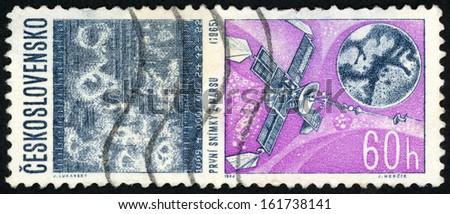 CESKOSLOVENSKO - CIRCA 1966: stamp printed in Czech (Czechoslovakia) show first photograph of mars & mariner; US and Russian achievements in space research; Scott 1424 A540 60h violet blue, circa 1966 - stock photo