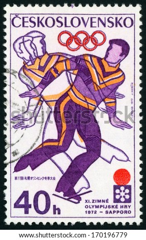 CESKOSLOVENSKO - CIRCA 1972: stamp printed in Czech republic (Czechoslovakia) shows figure of man skating, 11th winter Olympic games Sapporo Japan; Scott 1796 A647 40h purple orange red, circa 1972 - stock photo