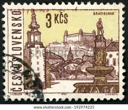 CESKOSLOVENSKO - CIRCA 1965: stamp printed in Czechoslovakia (Czech) shows Bratislava; capital of Slovakia; castle, st. Michaels gate & Roland fountain; views of towns; Scott 1352 A516 3k, circa 1965 - stock photo