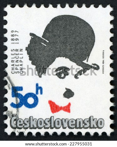CESKOSLOVENSKO - CIRCA 1989: stamp printed in Czechoslovakia (Czech) shows Charles Charlie Spencer Chaplin (1889-1977); actor, comedian, filmmaker; famous men; Scott 2734 A984 50h black, circa 1989 - stock photo