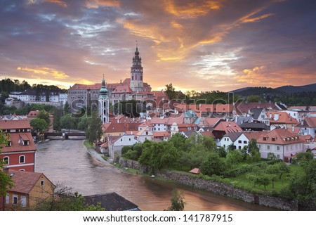 Cesky Kromlov, Czech Republic. Image of Cesky Krumlov, located in southern Czech Republic during sunset. - stock photo