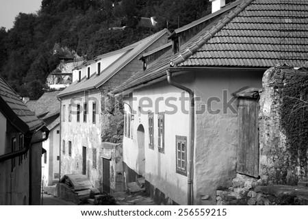 Cesky Krumlov. Beautiful Czech fabulous city. vintage black and white photos in retro - stock photo
