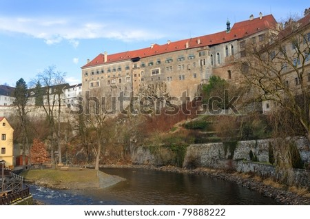 Cesky Krumlov Castle - view from the river, Czech Republic
