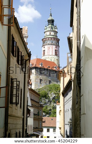 Cesky Krumlov Chateau Tower in The Czech Republic 2 - stock photo