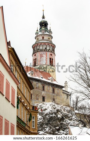 Cesky Krumlov city landscape view in Winter  - stock photo