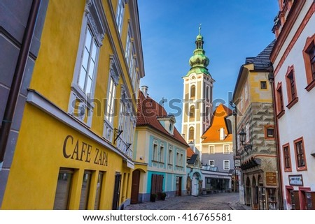 CESKY KRUMLOV, CZECH REPUBLIC - MARCH 4, 2016: Church in old town Cesky Krumlov. on March 4, 2016