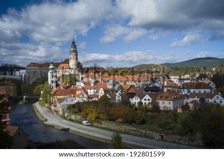 CESKY KRUMLOV, CZECH REPUBLIC - OCT 23: View at the UNESCO listed medieval town in the South Bohemian in Cesky Krumlov, Czech Republic on October 23 2013.