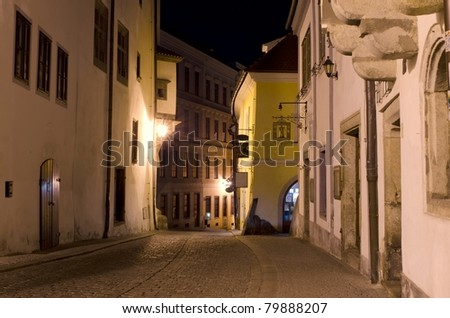 Cesky Krumlov street at night, Czech Republic - stock photo