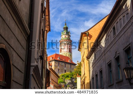 Cesky Krumlov tower view, Czech Republic. UNESCO World Heritage Site.