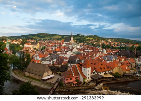 Cesky Krumlow, Czech Republic - July 2014. Old medieval town located in South Bohemian Region of Czech Republic. It is a UNESCO World Heritage Site. - stock photo
