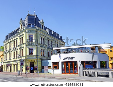 CESKY TESIN, CZECH REPUBLIC - MAY 6, 2016: Main Street of Cesky Tesin, town on the border of Poland and the Czech Republic. It is situated in the heart of the historical region of Cieszyn Silesia.
