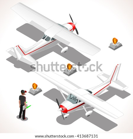 Cessna Airplane. Piper ultralight aircraft. Flat 3D Isometric planes. Aeroplane 172 Object. Isometric Vehicles. Infographic elements Icon Illustration. - stock photo