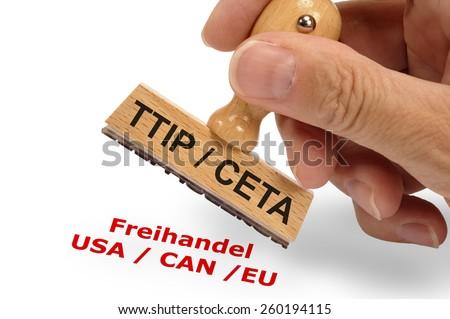 CETA and TTIP Transatlantic trade and investment partnership - stock photo