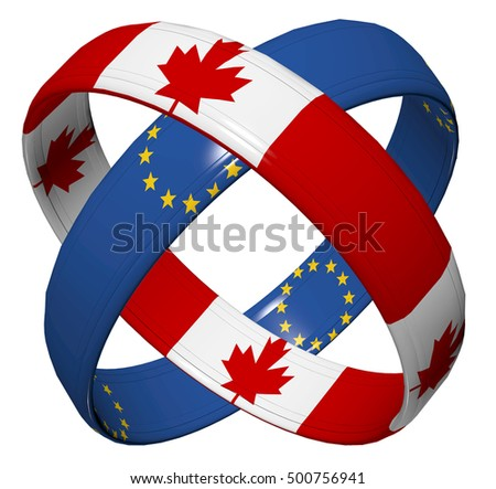 CETA Trade Agreement. Symbol for the Comprehensive Economic Agreement between Canada and the European Union