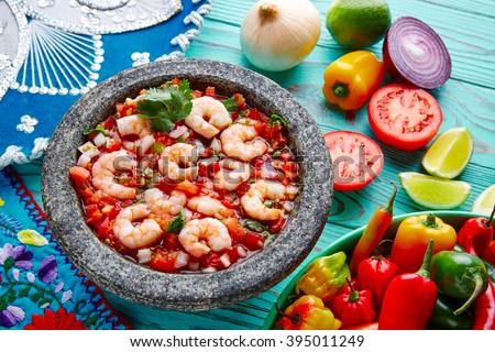 Ceviche de Camaron shrimp in molcajete from Mexico - stock photo