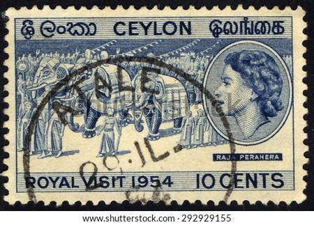 CEYLON - CIRCA 1954: A stamp printed in the Ceylon shows image of Royal Visit 1954, circa 1954 - stock photo
