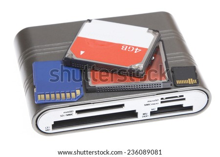 cf card sd md mmc micro sd m2 ms duo reader multi memory for camera computer microdrive compact flash isolated - stock photo
