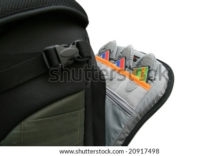 CF memory card in photo backpack - stock photo