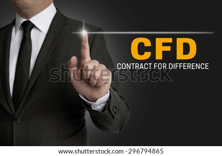 cfd touchscreen is operated by businessman. - stock photo