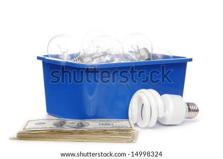 CFL bulb, incandecent bulbs in blue recycle container and pile of american dollar banknotes over white background - stock photo