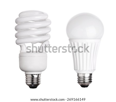 CFL Fluorescent and LED Light Bulb isolated on white background - stock photo