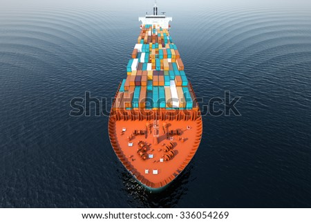 CG Aerial shot of container ship in ocean. - stock photo
