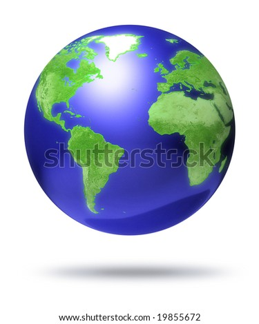 CG earth globe with global focus - computer render