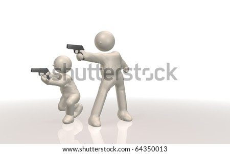 CG image representing the gun shooting. This is a computer generated image. - stock photo