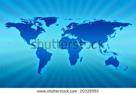 CG map of planet earth over blue  background - stock photo
