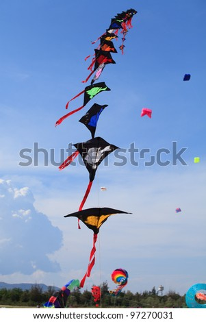CHA-AM - MARCH 9- Colorful kites in the 12th Thailand International Kite Festival on March 9, 2012 in Naresuan Camp, Cha-am, Thailand - stock photo