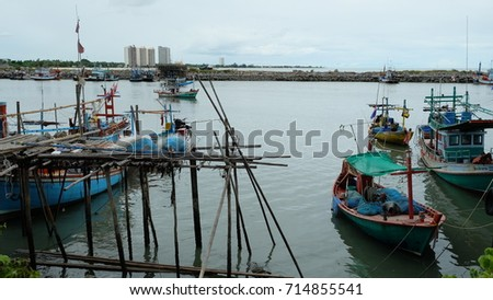 Cha-am, Thailand-August  19,2017: fishermen relaxing in their Fishing village  after working hard  at night time
