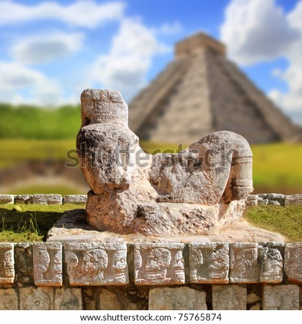 Chac Mool Chichen Itza figure with tray on stomach Mexico Yucatan [Photo Illustration] - stock photo