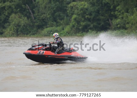 Chachoengsao Province,Thailand.December 21, 2017 Jet ski training to go to the 2020 Olympics.
