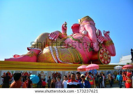 CHACHOENGSAO, THAILAND - 25 January 2014 : The world's biggest Genesha in relax pose at  Wat Saman Rattanaram. The Hindu god that whose head is an elephant head. He is a god of knowledge and success.