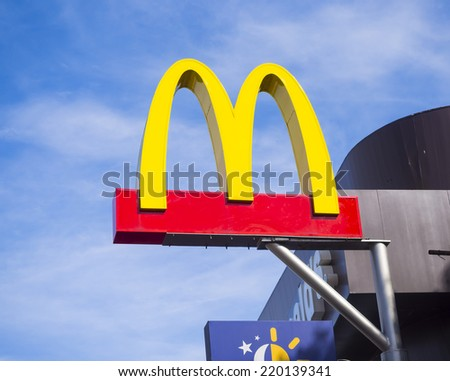 CHACHOENGSAO, THAILAND - SEPTEMBER 25, 2014: McDonalds outdoor sign over the Shop. McDonalds is an American largest fast food company sold around the world. - stock photo