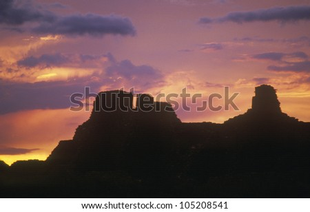 Chaco Canyon Indian ruins at sunset, northwestern NM - stock photo