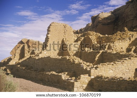 Chaco Canyon Indian ruins, NM, circa 1060, The Center of Indian Civilization, NM - stock photo