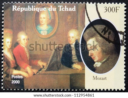 CHAD - CIRCA 2000: A postage stamp printed by Chad shows image portrait of famous Austrian composer Wolfgang Amadeus Mozart, circa 2000. - stock photo
