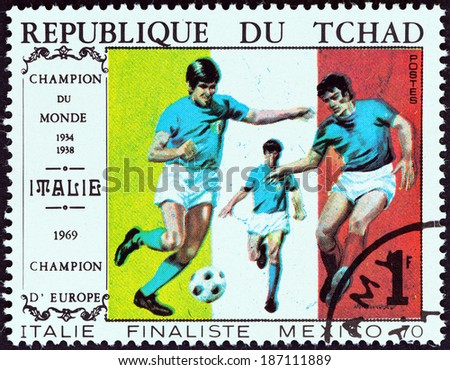 "CHAD - CIRCA 1978: A stamp printed in Chad from the ""World Cup Football Championship Finalists "" issue shows 1970 Brazil - Italy 4-1, circa 1978.  - stock photo"