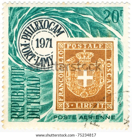 CHAD - CIRCA 1971: A stamp printed in Republic of Chad Publicity for PHILEXOCAM, devoted Post Office Tuscany and shows emblem, series, circa 1971 - stock photo