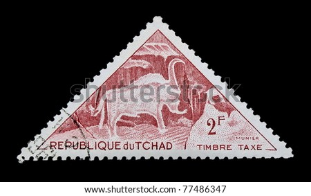 CHAD - CIRCA 1962: A stamp printed in Republic of Chad shows animal, series, circa 1962 - stock photo