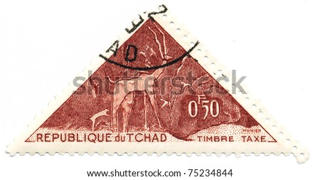 CHAD - CIRCA 1962: A stamp printed in Republic of Chad shows antelopes, series, circa 1962 - stock photo