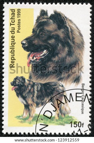 CHAD - CIRCA 1999: A stamp printed in Republic of Chad shows dog(berger caucasique), circa 1999 - stock photo
